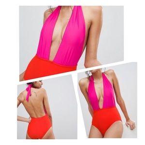 HEATWAVE Colorblock Deep Plunge Halter Swimsuit